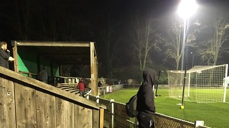 Top Field, the home of Hitchin Town FC, under the floodlights before the visit of Leiston. Picture: