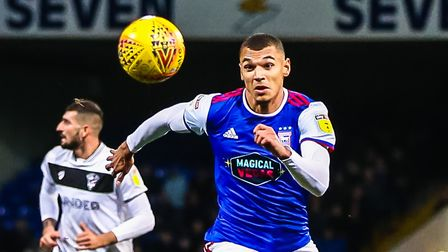 Kayden Jackson, back to former club Accrington Stanley in the FA Cup with Ipswich Picture: STEVE WA