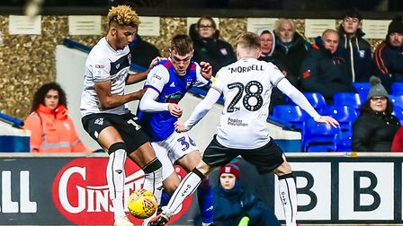 Bristol City's Lloyd Kelly and Joe Morrell ensure there is no way through for Jack Lankester. Pic