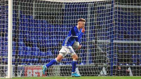 Jack Lankester scores for Ipswich in the FA Youth Cup last season. Picture: SARAH LUCY BROWN