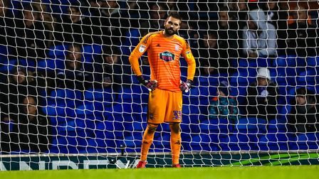Bartosz Bialkowski pictured after conceding for a third time in Wednesday night's 3-2 defeat home de