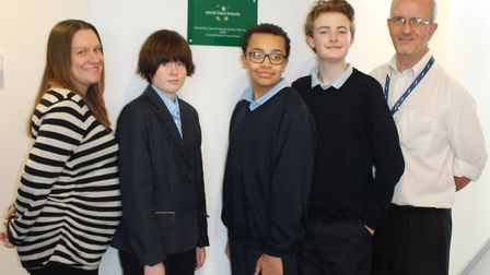 Staff and students Maria South, Lucy McConville, Kai Henderson, Elliot Stannard, and Stuart Field at