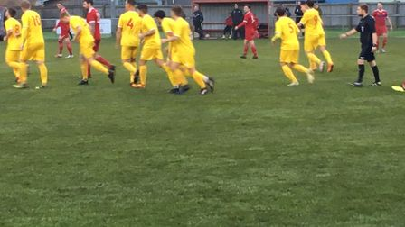 Walsham-le-Willows players celebrate after Andrew Cusack nets what proves to be the only goal of the