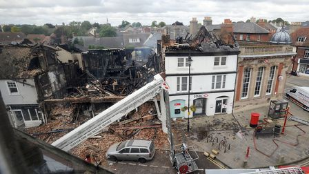 An aerial view of the destroyed Goldsmith's Mansion, which has now been rebuilt Picture: PHIL MORLEY