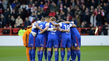 The Ipswich team's huddle before kick-off at Nottingham Forest Picture Pagepix