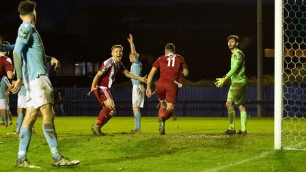 CELEBRATION - Seasiders Josh Kerridge (left, red) congratulates Jack Ainsley (right, red) as Brentwo