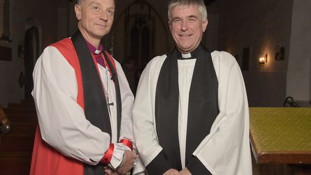 Rt Rev Dr Mike Harrison, Bishop of Dunwich and Reverend Steven Morely at the dedication of the bells