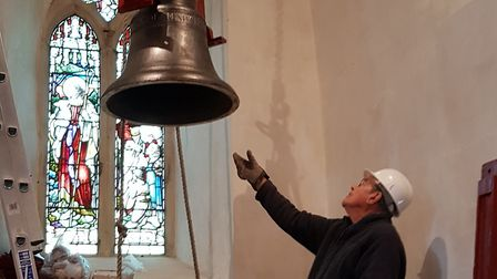 The restored bells being installed in the church in October Picture: RACHEL EDGE