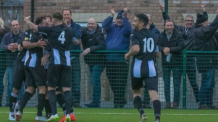 Six Appeal! Woodbridge players celebrate at Newmarket, where they won 6-2 on Saturday. Photo: PAUL L