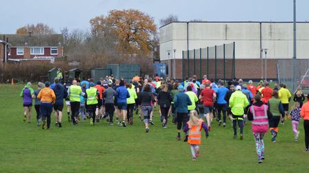 They're off at the start of the 5K challenge at Saturday's Great Cornard parkrun. Picture: GREAT COR