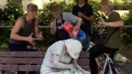 The picture of a woman covered in flour and eggs in Bury St Edmunds Picture: FACEBOOK