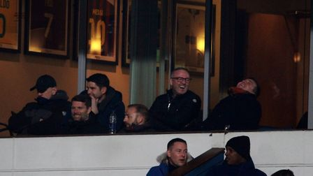 Paul Lambert and his coaching staff watch on from the stands Picture: ROSS HALLS