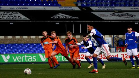 Kai Brown scores from the spot to make it 2-0 Town U18s Picture: ROSS HALLS