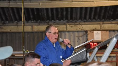 Auctioneer Graham Ellis at Colchester Christmas Prime Stock Show Picture: STEVE WRIGHT