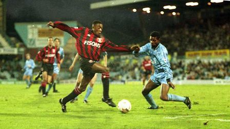 Chris Kiwomya was among the scorers as the Blues drew 2-2 with Coventry City at Highfield Road in 19