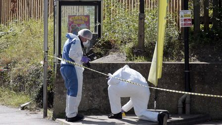 Forensic officers gather evidence at the scene Picture: NIGE BROWN.