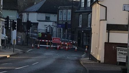The site of the road works in Stowmarket. Picture: NIKKY ELMER