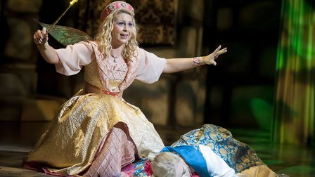 Elin Llwyd as Fairy Fortune and Jasmine Hackett as Princess Aurora. Picture: TONY KELLY