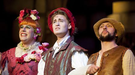 Chris Clarkson as Nanny Fanny, Joseph Connor as Prince Florin and Oliver Mawdsley as Grub. Picture: