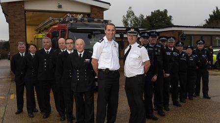 Chief Fire Officer, Mark Hardingham and Deputy Chief Constable, Steve Jupp with their teams at the n