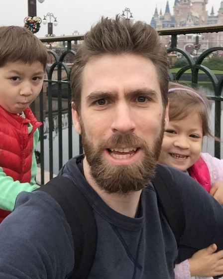 Michael Simpson with children Jack and Alice Picture: SIMPSON FAMILY