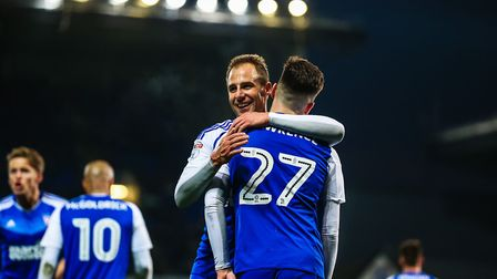 Luke Varney congratulates Tom Lawrence after he had given Town a 3-0 lead on this day in 2016