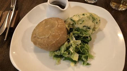 Mark's main at the Cadogan Arns - steak pudding, colcannon, steamed greens and gravy. Picture: MARK