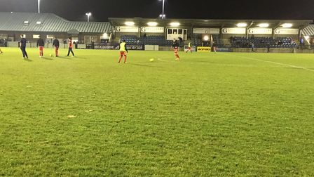 The scene at St Neots Town's Rowley Park before kick-off on Tuesday night. Picture: CARL MARSTON