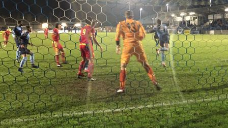 Goalmouth action as Needham Market go on the attack against St Neots Town. Picture: CARL MARSTON