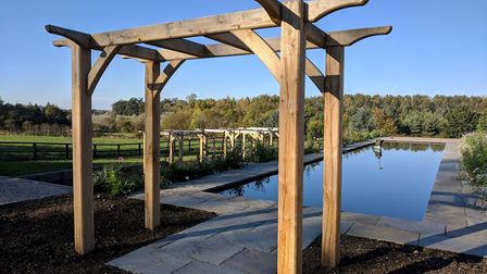 One of Dan Rule's garden pergolas, which features on the BBC documentary A Matter of Life and Debt