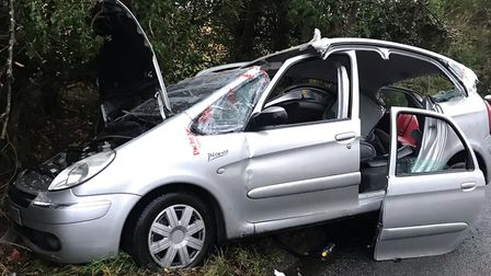 The wreckage of Jack Mahoney's Citroen Xsara Picasso after the crash on the B1070 near Hadleigh. Pic