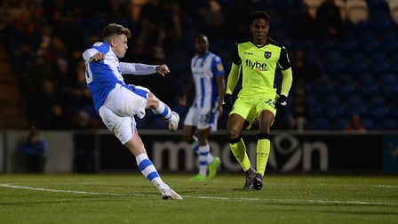 Sammie Szmodics nets with this rasping first-time shot against Exeter City, one of three goals he ba
