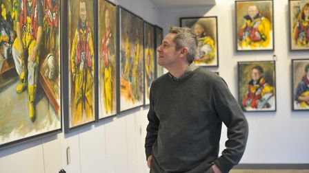 David Gillingwater, who also volunteers with the Aldeburgh RNLI, with his collection of work 'Oilski