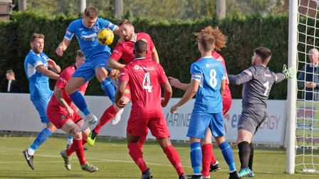 Leiston's Joe Jefford was on target in their FA Trophy defeat. Photo: PAUL VOLLER