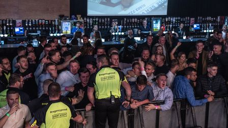 Ryan Dennis fans celebrated their man's victory wildly at Contenders 25. Picture: BRETT KING