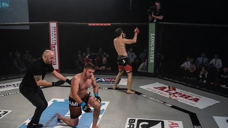 Felix Klinkhammer celebrates his rapid heel hook submission win over Stephan Gheorghe at Contenders