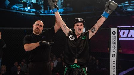 Aaron Rolfe celebrates his win at Contenders 25. Picture: BRETT KING