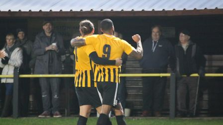 Max Melanson and Remi Garrett celebrate Stow's second goal in their win over Great Yarmouth. Picture