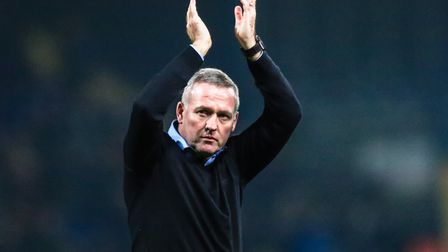 Ipswich Town manager Paul Lambert applauds the vocal support following Friday night's 2-1 home defea