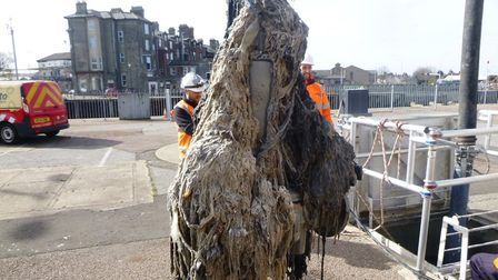 A blockage removef from a sewer by Anglian Water Workers
