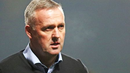 Town manager Paul Lambert pictured leaving the pitch at halftime with his side 1-0 behind. Pictur