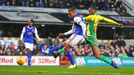 Kayden Jackson fires home to pull a goal back for Town in the 2-1 defeat by West Bromwich Albion.