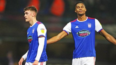 Jack Lankester and Jordan Spence after the final whistle in the 2-1 defeat by West Bromwich Albion.