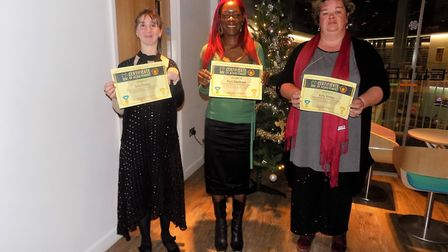 L:R - Winners Amy Cowley, Mary Goodhand and Ruby Alston Picture: HEADWAY SUFFOLK