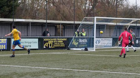 Tom Monk watches his shot give Sudbury the lead against Grays. Picture: PAUL VOLLER