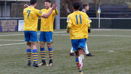 Tom Monk and Phil Kelly celebrate the former's opening strike for Sudbury. Picture: PAUL VOLLER