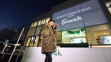 Megan McKenna performing at Fenwick's festive showcase in Colchester