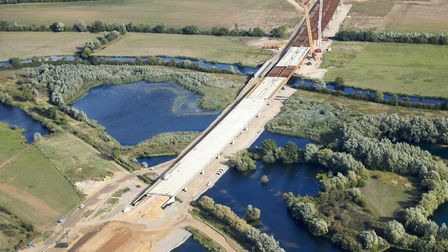The new bridge takes shape over the Great Ouse river. Picture: HIGHWAYS ENGLAND