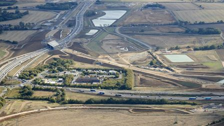 The new road is taking shape at its junction with the A1 at Huntingdon. Picture; HIGHWAYS ENGLAND