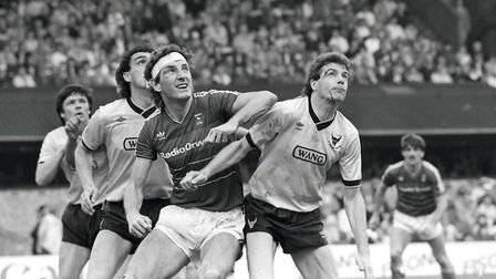 Ipswich Town v Oxford, May 1986. Terry Butcher is appearing at the Theatre Royal in Bury St Edmunds